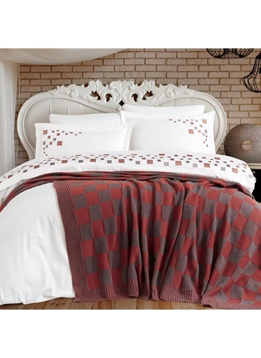 Nazik Home Paradise Nakışlı Nevresim Takımı + Triko Battaniye 7 Parça Set Kırmızı